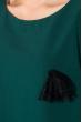 Платье женское (батал) элементом декора на рукаве и груди 74PD339 бутылочный
