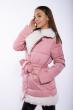 Женская куртка с меховым воротником 120PSKL5153 розовый