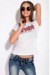 Футболка женская с надписью на груди 148P333-4 белый