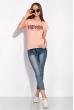 Футболка женская с надписью на груди 148P333-4 персиковый