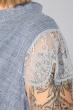 Платье женское (батал) с кружевом на рукавах и поясе 74PD305 джинс меланж