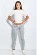 Брюки женские с лампасами 424F001 серо-белый меланж
