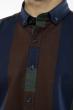 Рубашка в крупную полоску 11P416 темно-зеленый / коричневый