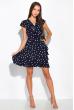 Платье в горох на запах 151P16 темно-синий