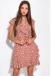Платье в горох на запах 151P16 бежевый