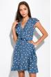 Платье в горох на запах 151P16 голубой
