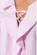 Блузка женская с жабо и шнуровкой на груди 64PD202 бело-розовый