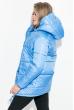 Куртка женская удлиненная, с глубоким капюшоном 69P0811 голубой