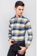 Рубашка яркая мужская 371F010 сине-желтый