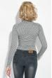 Боди женское принтованное, на кнопках, длинный рукав 64PD93 коричнево-молочный
