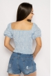 Блуза женская в мелкую клетку 635F006 бело-голубой