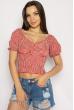 Блуза женская в мелкую клетку 635F006 красно-белый