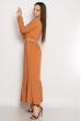 Платье в пол с длинными рукавами 640F001-2 персиковый