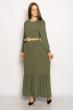 Платье в пол с длинными рукавами 640F001-2 хаки