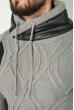 Свитер мужской с вставками кожи 48P3248 серый