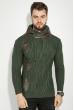Свитер мужской с вставками кожи 48P3248 темно-зеленый