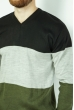 Джемпер трехцветный 85F50 черный / хаки
