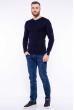 Пуловер однотонный 606F002 темно-синий