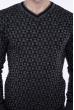 Джемпер с фактурной вязкой  192P6025 серо-черный