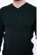Джемпер с фактурной вязкой  192P6025 темно-зеленый / черный