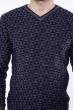 Джемпер с фактурной вязкой  192P6025 серо-синий