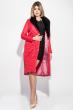 Пальто женское стеганное, с мехом 69PD1059 красный