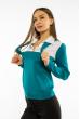 Джемпер-обманка женский 618F210 бело-бирюзовый