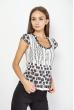 Блуза женская  с круглым вырезом 118P297 бело-черный