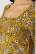 Платье с разрезом цветочный принт 632F017-3 горчичный