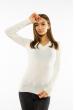 Пуловер женский с V-образным вырезом 618F090 молочный