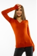 Пуловер женский с V-образным вырезом 618F090 терракотовый