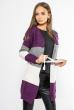 Кардиган женский  в полоску 85F036-1 фиолетово-серый