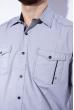 Рубашка в мелкую полоску 199P0687 серо-белый