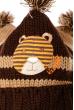 Шапка детская с котиком и тремя помпонами 65P0017 junior коричнево-бежевый