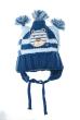 Шапка детская с котиком и тремя помпонами 65P0017 junior сине-голубой