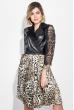 Платье женское рукав кружево, юбка с анималистичным принтом 68PD547 черно-бежевый