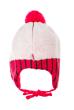Шапка детская (для девочки) на завязках 65PG15-048 junior бело-малиновый