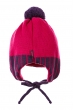 Шапка детская (для девочки) на завязках 65PG15-048 junior сиреневый-фуксия