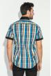 Рубашка мужская с однотонным воротником 50P009 черно-голубой