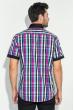 Рубашка мужская с однотонным воротником 50P009 черно-малиновый