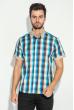 Рубашка мужская с однотонным воротником 50P009 бежево-голубой