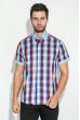 Рубашка мужская с однотонным воротником 50P009 голубо-красный