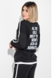 Костюм женский спортивный с крупным текстовым принтом на спине 74PD363 черный