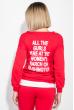 Костюм женский спортивный с крупным текстовым принтом на спине 74PD363 красный