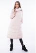Пальто женское двустороннее 110P042-1 бежево-белый