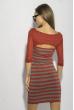 Платье в полоску 120PZEL9917 бордово-серый