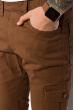 Брюки однотонные с манжетами 120PMR001-1 светло-коричневый