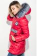 Куртка женская с элементами декора на поясе и груди 69PD893 алый