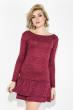 Платье женское с воланами 77PD781 вишневый меланж