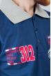 Поло мужское с контрастным воротником №185F110 сине-серый